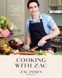 "Cookbook cover design idea with celeebrity on the example of Zac Posen's ""Cooking with Zac"""