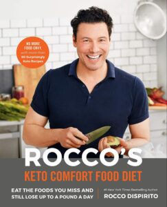 "Celebrity on a cookbook covers on the example of Rocco Dispirito ""Rocco's Keto Comfort Food Diet"""