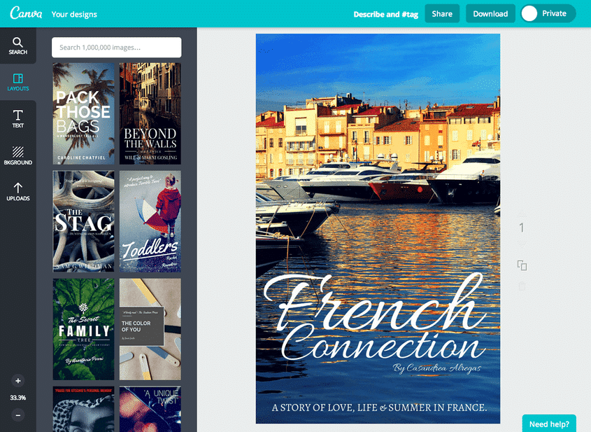 Screenshot of canva one of the best DIY book cover makers
