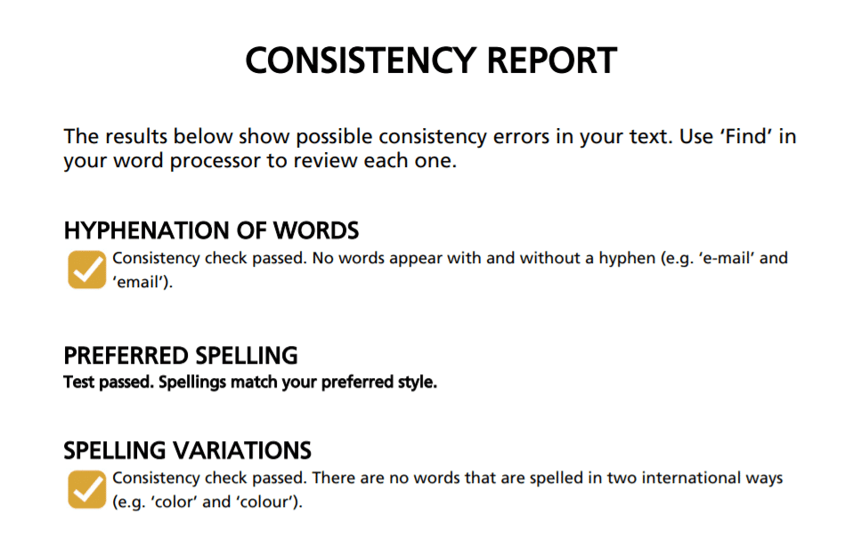 Screenshot of Online consistency checker
